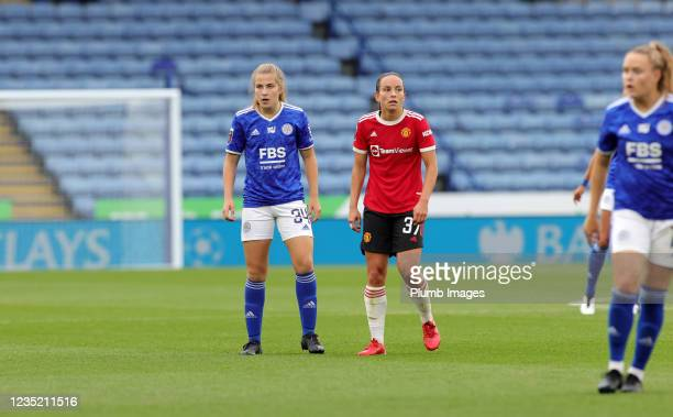 Mackenzie Smith of Leicester City Women in action with Lucy Staniforth of Manchester United Women during the Barclays FA Women's Super League match...
