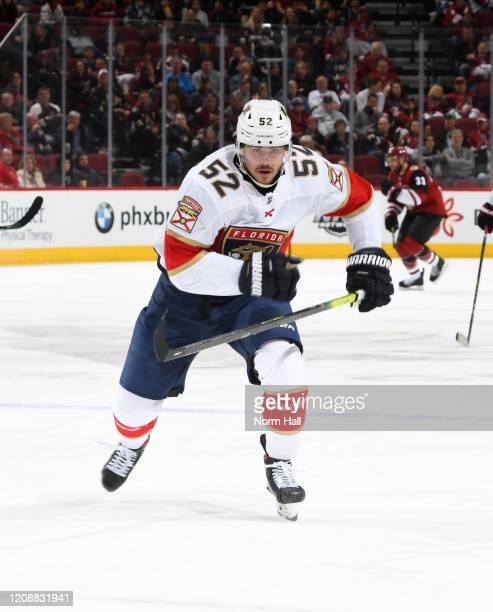 MacKenzie Weegar of the Florida Panthers skates up ice against the Arizona Coyotes at Gila River Arena on February 25 2020 in Glendale Arizona