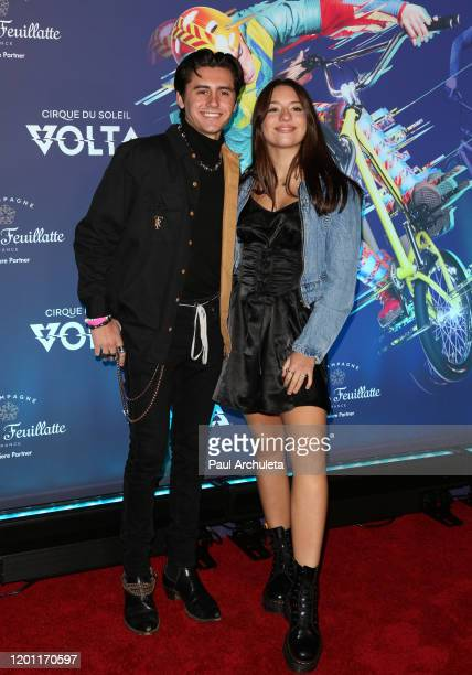 Mackenzie Ziegler and Isaak Presley attend the LA premiere of Cirque Du Soleil's Volta at Dodger Stadium on January 21 2020 in Los Angeles California
