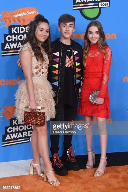 Mackenzie Ziegler Johnny Orlando and Lauren Orlando attend Nickelodeon's 2018 Kids' Choice Awards at The Forum on March 24 2018 in Inglewood...