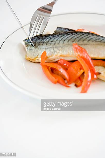 mackerel and peppers - fatty acid stock pictures, royalty-free photos & images