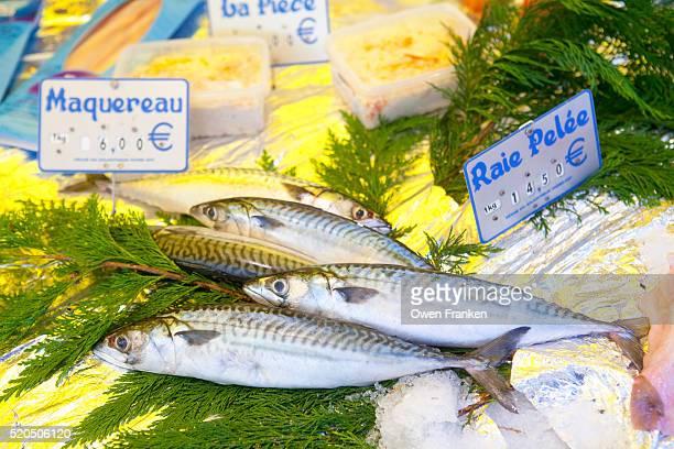 mackerel for sale in a Paris weekly market