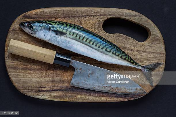 A Mackerel on a cutting board with a Japanese knife
