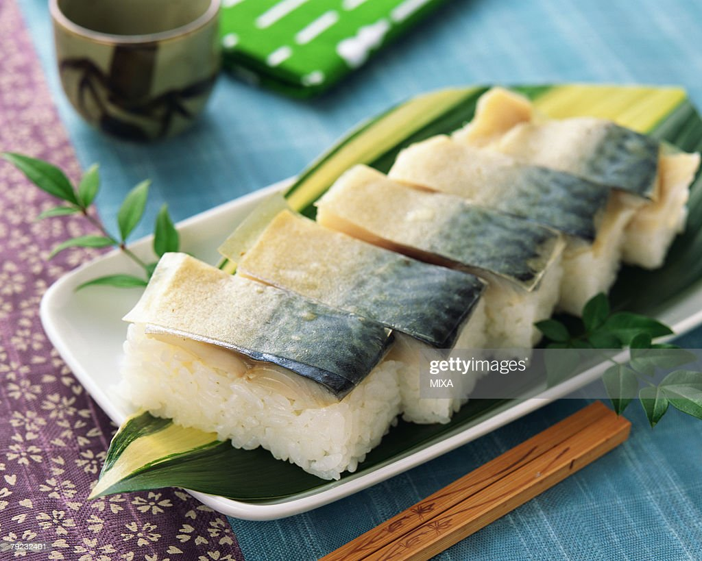 Mackerel sushi : Stock Photo