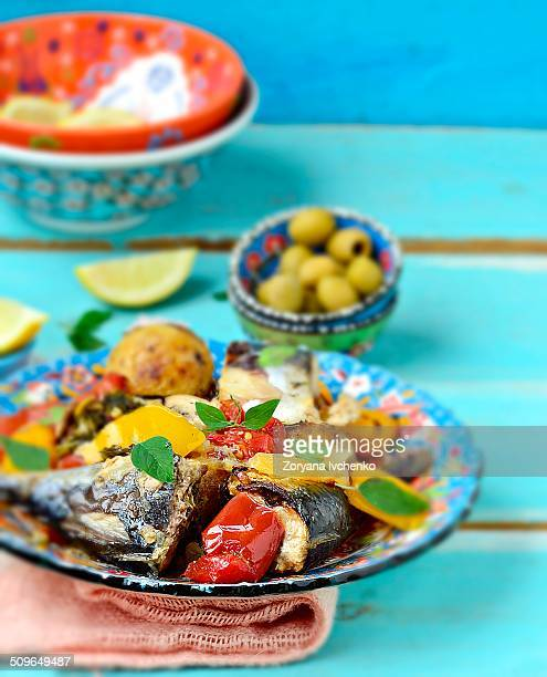 mackerel with vegetables in moroccan - mackerel stock pictures, royalty-free photos & images