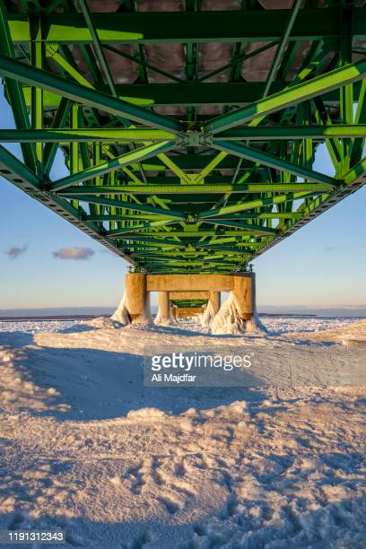 mackinac bridge in winter - upper peninsula stock pictures, royalty-free photos & images