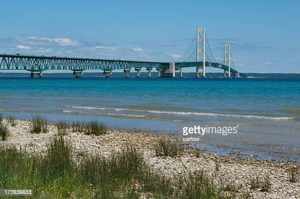 mackinac bridge - mackinac island stock pictures, royalty-free photos & images