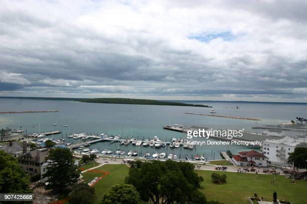 mackinac island- overview - mackinac island stock pictures, royalty-free photos & images