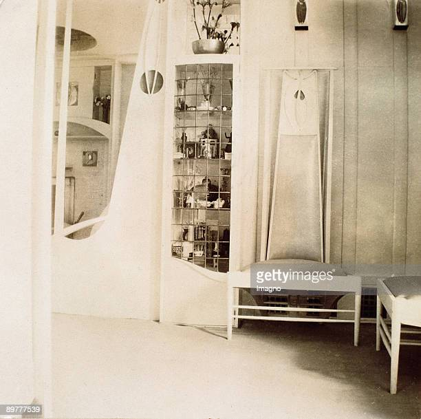 MackintoshParlour with two chaires designed by Charles Rennie Mackintosh Furnishing designed for Fritz Waerndorfer for his flat in the 18th district...