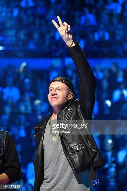 Macklemore accepts award onstage at the MTV EMA's 2015 at Mediolanum Forum on October 25, 2015 in Milan, Italy.
