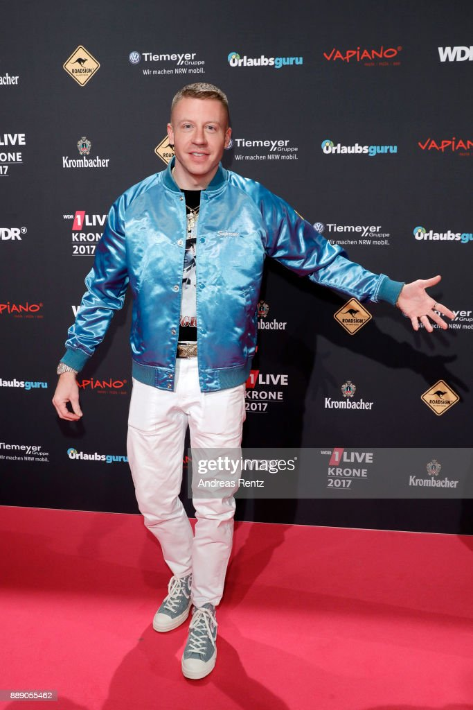 Macklemore, aka Benjamin Hammond Haggerty, attends the 1Live Krone radio award at Jahrhunderthalle on December 07, 2017 in Bochum, Germany.