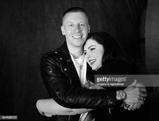 Macklemore and Mary Lambert pose for a portrait at Logo's 'Trailblazer Honors' on June 23 in the Cathedral of St John the Divine in New York City