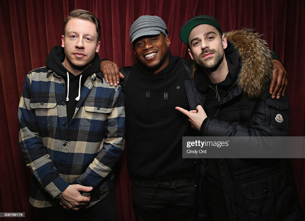 Macklemore and Ryan Lewis pose with SiriusXM host Sway Calloway (C) during a visit to the SiriusXM Studios on January 25, 2016 in New York City.