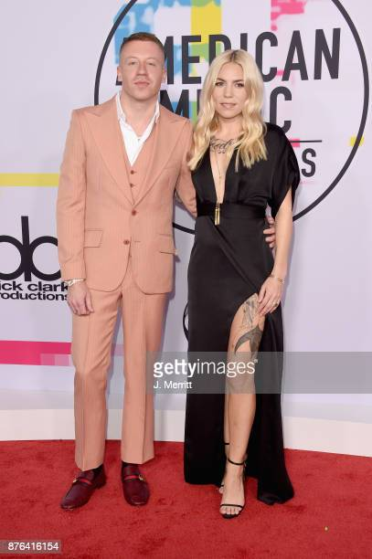 Macklemore and Skylar Grey attend 2017 American Music Awards at Microsoft Theater on November 19 2017 in Los Angeles California