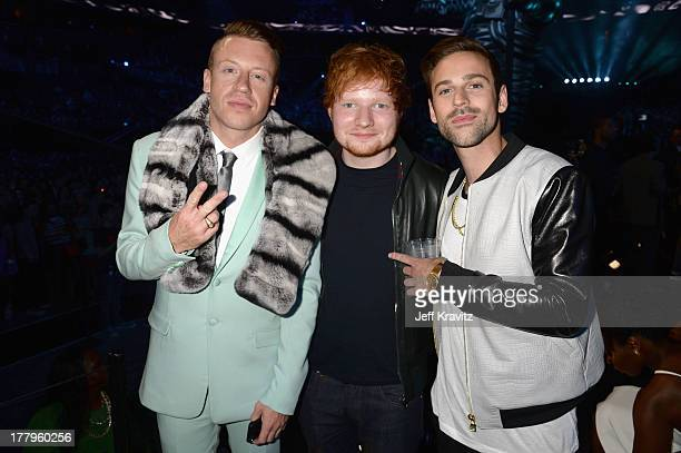 Macklemore , Ed Sheeran, and Ryan Lewis attend the 2013 MTV Video Music Awards at the Barclays Center on August 25, 2013 in the Brooklyn borough of...