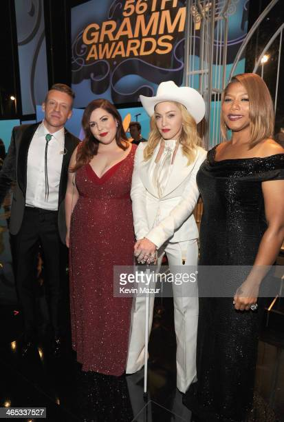 Macklemore Mary Lambert Madonna and Queen Latifa attend the 56th GRAMMY Awards at Staples Center on January 26 2014 in Los Angeles California
