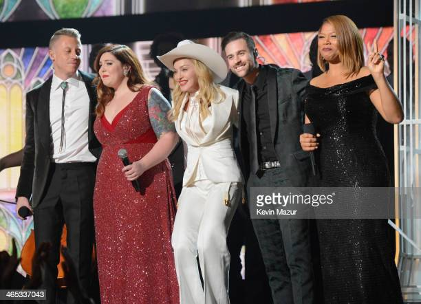 Macklemore Mary Lambert Madonna Ryan Lewis and Queen Latifa onstage during the 56th GRAMMY Awards at Staples Center on January 26 2014 in Los Angeles...
