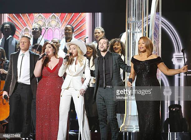 Macklemore, Miranda Lambert, Madonna, Ryan Lewis and Queen Latifah perform onstage during the 56th GRAMMY Awards held at Staples Center on January...