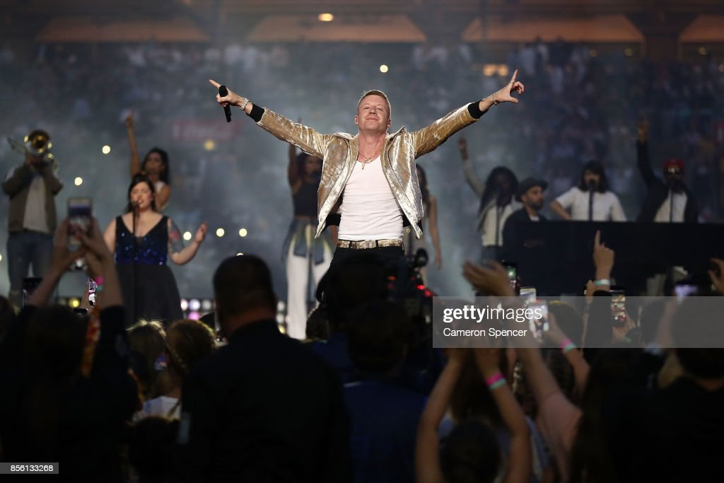 Macklemore performs before the 2017 NRL Grand Final match between the Melbourne Storm and the North Queensland Cowboys at ANZ Stadium on October 1, 2017 in Sydney, Australia.
