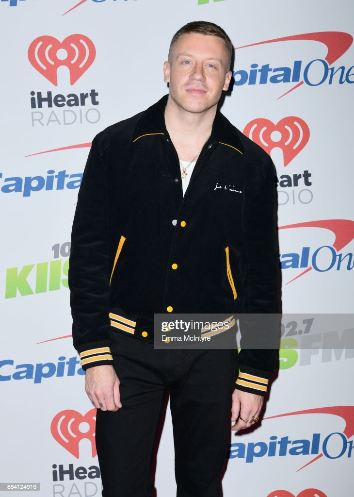 Macklemore poses in the press room during 102.7 KIIS FM's Jingle Ball 2017 presented by Capital One at The Forum on December 1, 2017 in Inglewood, California.