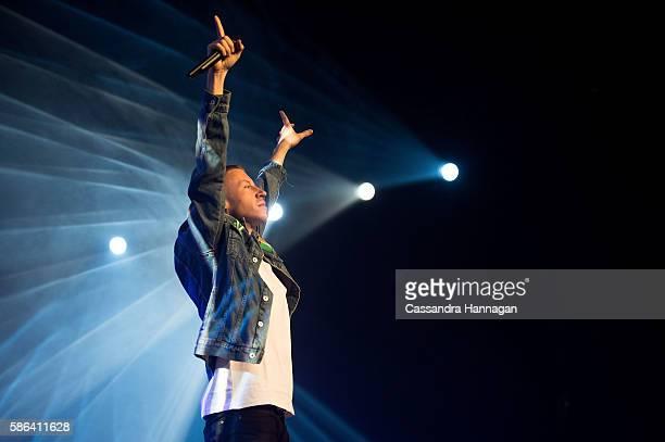 Macklemore Ryan Lewis perform on stage at Allphones Arena on August 6 2016 in Sydney Australia