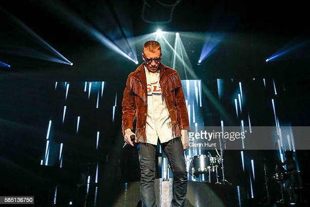 Macklemore Ryan Lewis perform on stage at Brisbane Entertainment Centre on August 2 2016 in Brisbane Australia