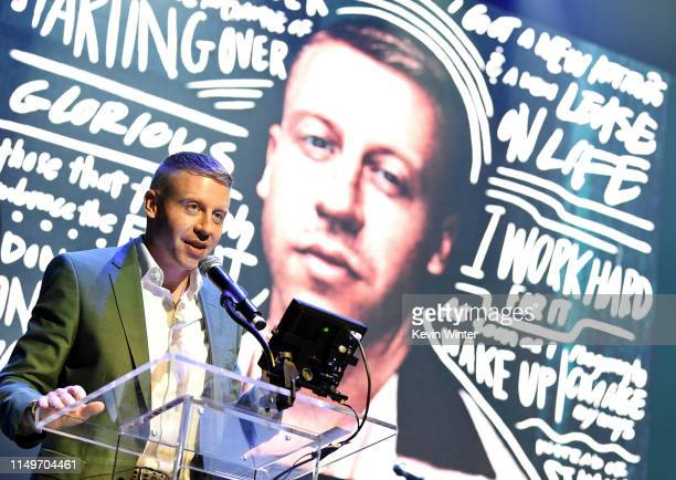 Macklemore speaks onstage during MusiCares® Concert For Recovery Presented by Amazon Music, Honoring Macklemore at The Novo at L.A. Live on May 16,...