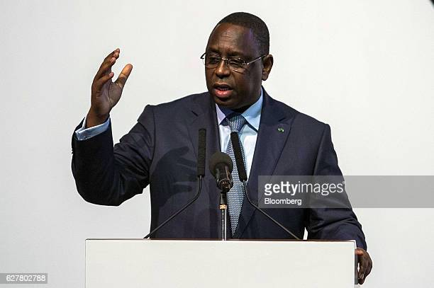 Macky Sall Senegal's president gestures as he speaks during the International Forum on Peace and Security In Africa in Dakar Senegal on Monday Dec 5...