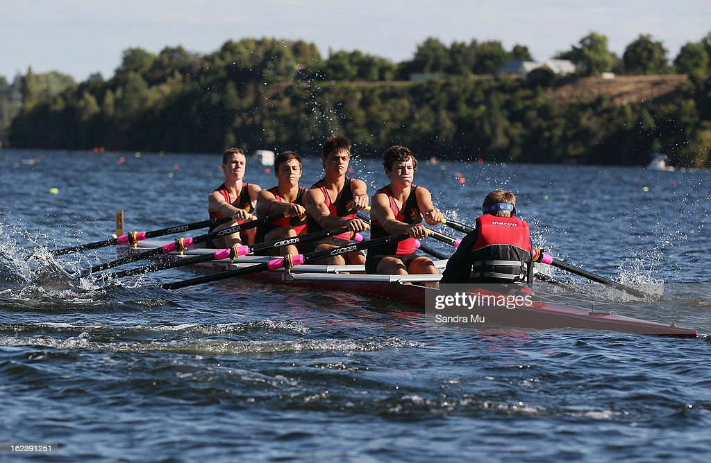 Macleans College Boys U16 four race during the New Zealand Junior Rowing Regatta on February 23, 2013 in Auckland, New Zealand.