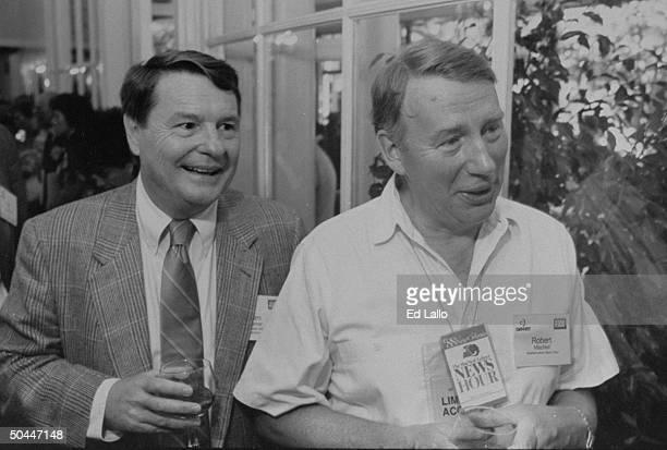 MacNeil/Lehrer News Hour anchors Jim Lehrer and Robert MacNeil at Republican Convention