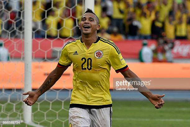 Macnelly Torres of Colombia celebrates after scoring the second goal of his team during a match between Colombia and Venezuela as part of FIFA 2018...