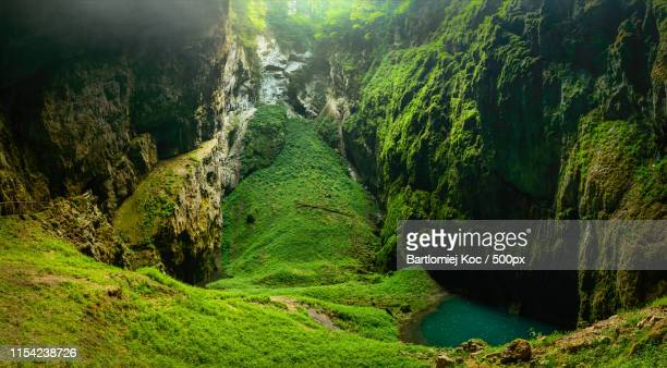 macocha abyss, moravian karst microclimate with juicy greenery and a small lake - microclimate stock pictures, royalty-free photos & images