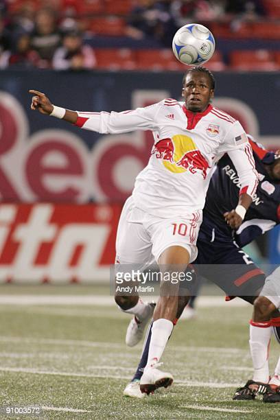 Macoumba Kandji of the New York Red Bulls plays the ball against the New England Revolution during their game at Giants Stadium on September 18 2009...