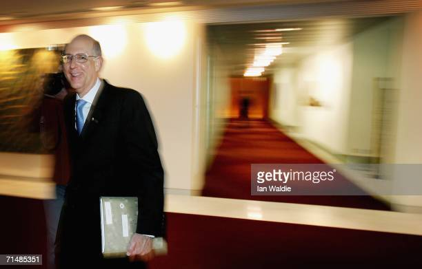 Macquarie Bank Chief Executive Officer Allan Moss arrives for a press briefing prior to the company's Annual General Meeting July 20, 2006 in Sydney,...