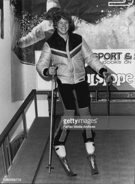 Scott Myers Demonstrating Skiing techniques on the Mogulslope revoling Ski Deck June 08 1983