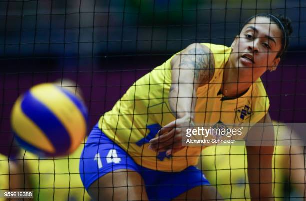 Macris Carneiro of Brazil in action during the match against Serbia during the FIVB Volleyball Nations League 2018 at Jose Correa Gymnasium on May 17...