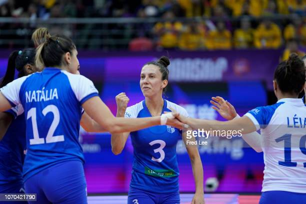 Macris Carneiro of Minas Tenis Clube in action during 2018 FIVB Women's Club World Championship Final Minas v Vakif at Olympic Sports Center on...