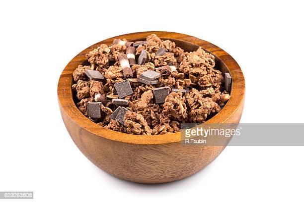 Macro close up of chocolate muesli