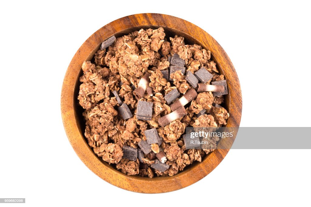 Macro close up of chocolate muesli with pieces of chocolate : Stock-Foto