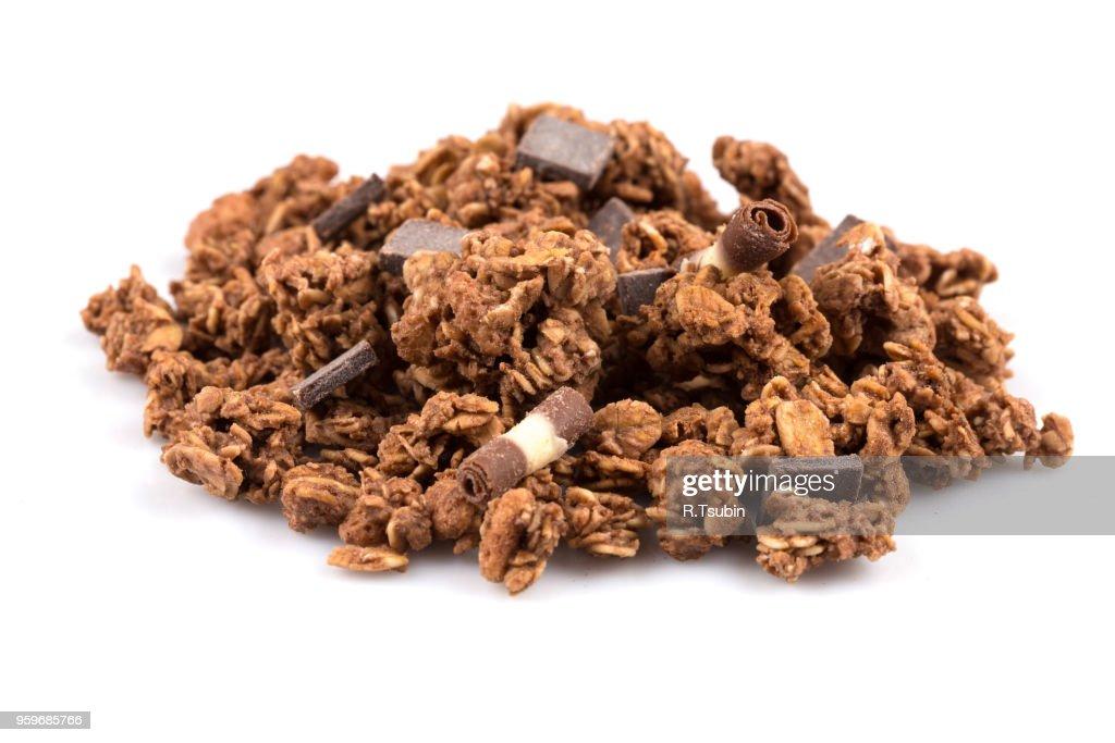 Macro close up of chocolate muesli with pieces of chocolate : Stock-Foto
