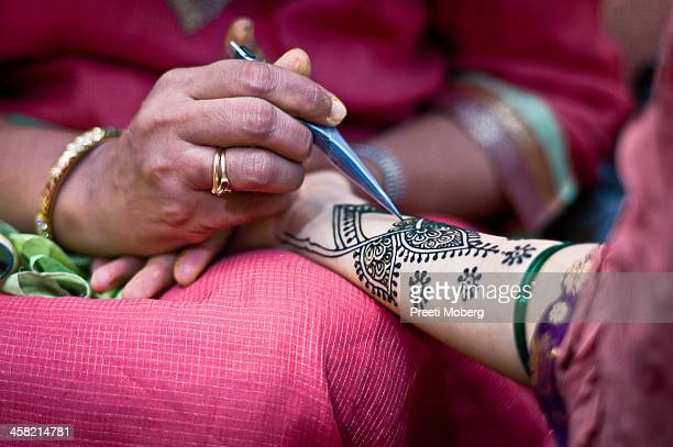 Macro closeup of bridal henna