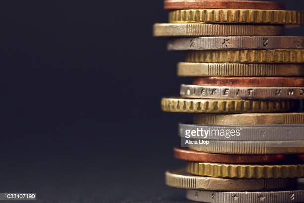 macro coins stack - treasury stock pictures, royalty-free photos & images
