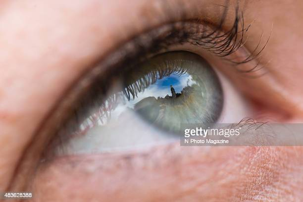 Macro detail of the reflection in a woman's eye, taken on September 25, 2014.