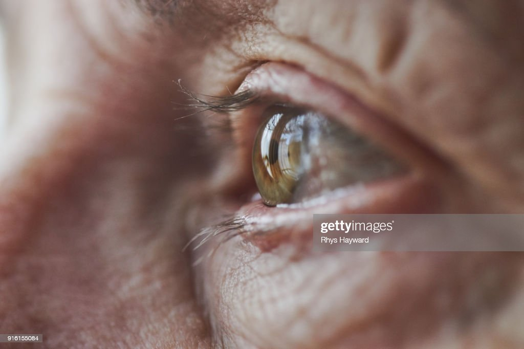 Macro Eye of Female Senior : Stock Photo