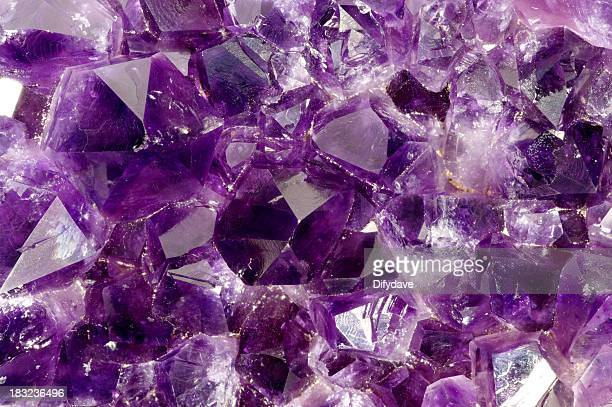 Macro Of Amythyst Crystals Inside A Geode