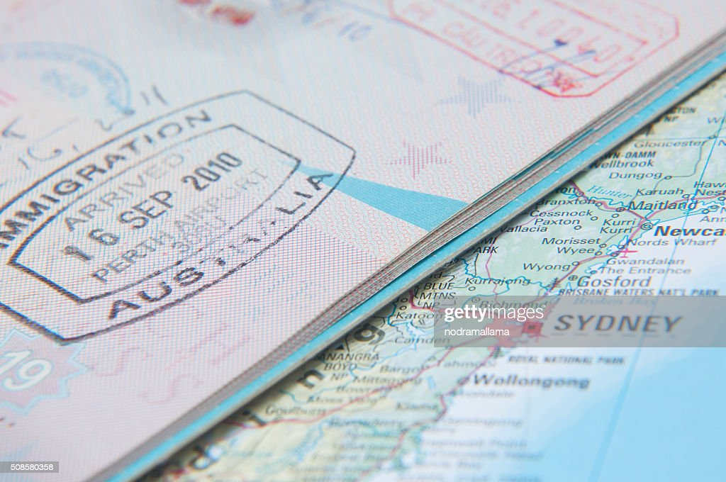 Macro of arrival stamp of Australia in passport : Stock Photo