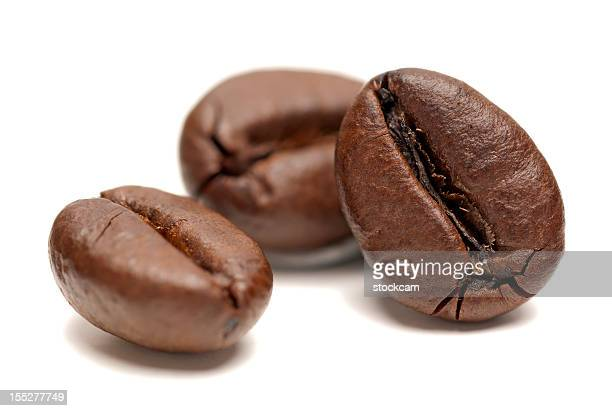 Macro of Coffee Beans on white background