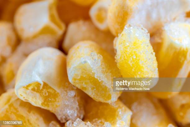 macro of frozen corn - frozen stock pictures, royalty-free photos & images