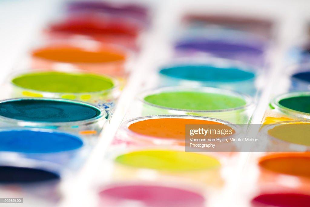 Macro of Watercolor Paints : Stock Photo