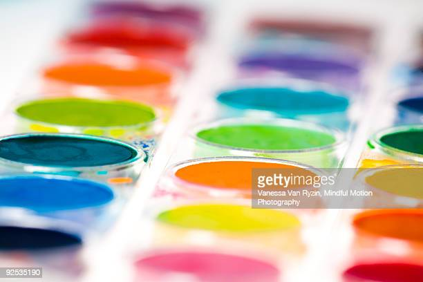macro of watercolor paints - vanessa van ryzin stock photos and pictures